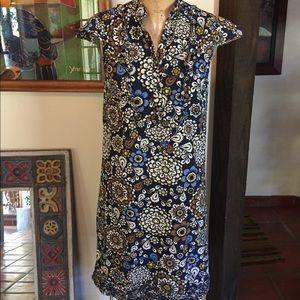 J. Crew Floral Cap-sleeve Midi Dress w/Ruffle Hem